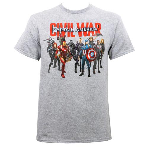 Marvel Civil War Civil Group Shot T-Shirt Heather Grey