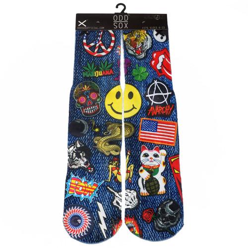ODD SOX Patches Crew Socks