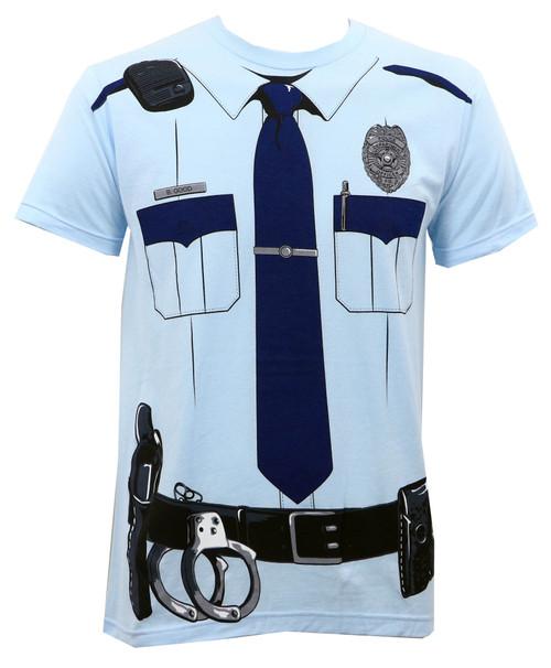 Johnny Law Cop Uniform Slim-Fit T-Shirt Light Blue
