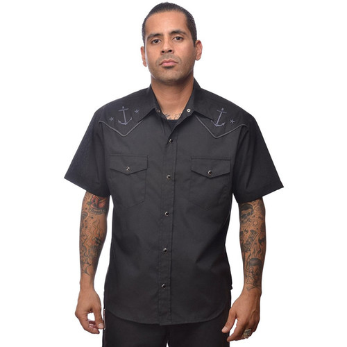 Steady Anchored Western Button Up Shirt Black