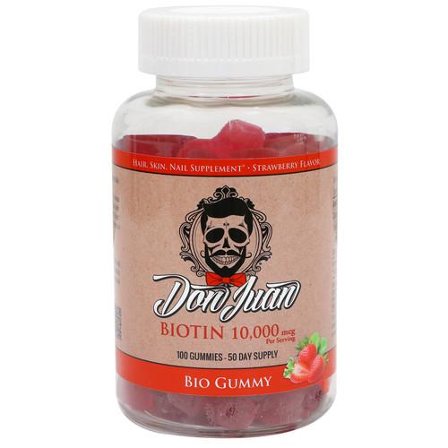 Don Juan Bio Gummy- 10000 MCG Biotin - Extra Strength Hair, Skin, Nail Support- 100 Count