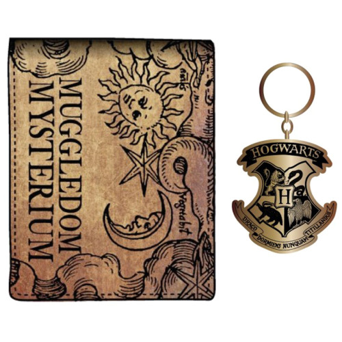 Harry Potter Bifold Wallet With Hogwarts Crest Keychain Combo