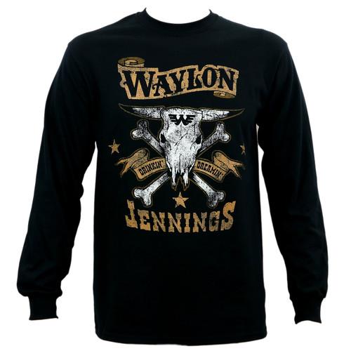 Waylon Jennings Drinkin And Dreamin Brown Logo Long Sleeve T-Shirt
