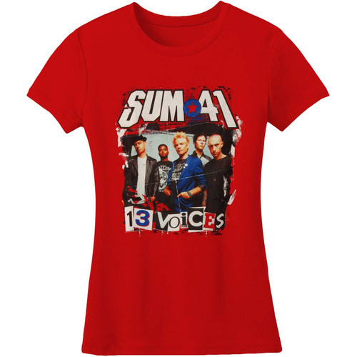 Sum 41 Ransom Letters 13 Voices Junior's T-Shirt Red