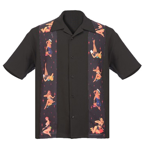 Steady Clothing Multi Pin Up Panel Button Up Bowling Shirt Black