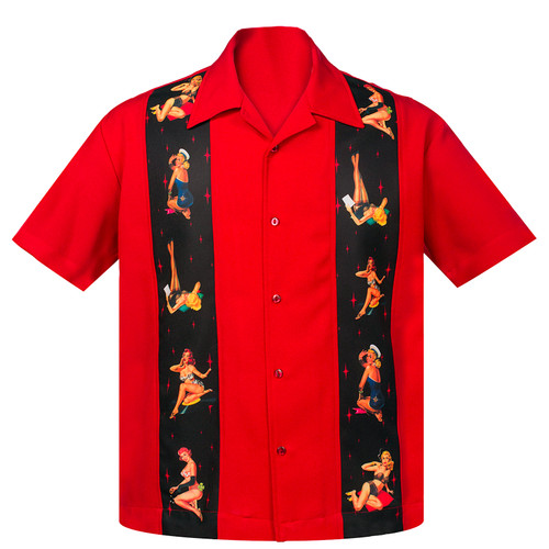 Steady Clothing Multi Pin Up Panel Button Up Bowling Shirt Red
