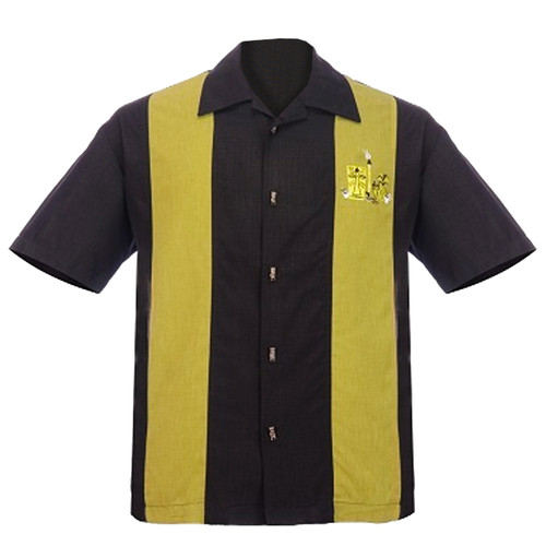 Steady Clothing The Mickey Green Panel Button Up Bowling Shirt