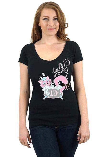 Lucky 13 Bubbles Juniors Deep V-Neck T-Shirt