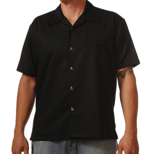 Steady Clothing Skull Button Up Bowling Shirt