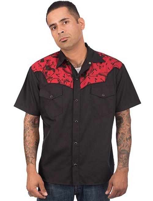 Steady Clothing Skull & Guns Print Western Button Up Shirt