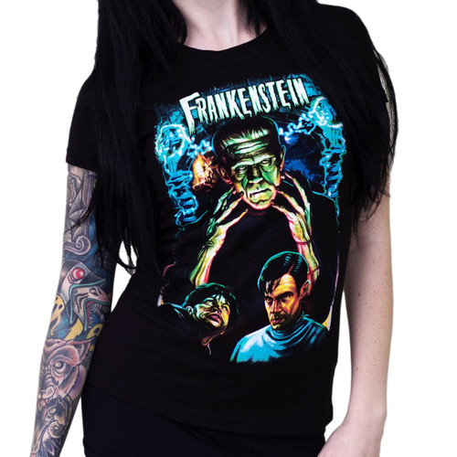 Universal Dr. Frankenstein Juniors T-Shirt Black