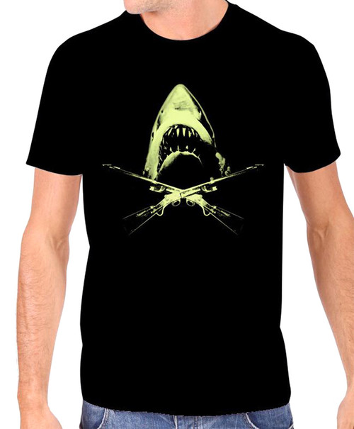 Universal JAWS Crossed Harpoon Rifles Glow in The Dark T-Shirt