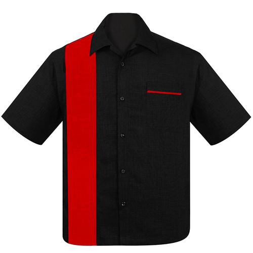 Steady Clothing Poplin Single Panel Bowling Shirt Black Red