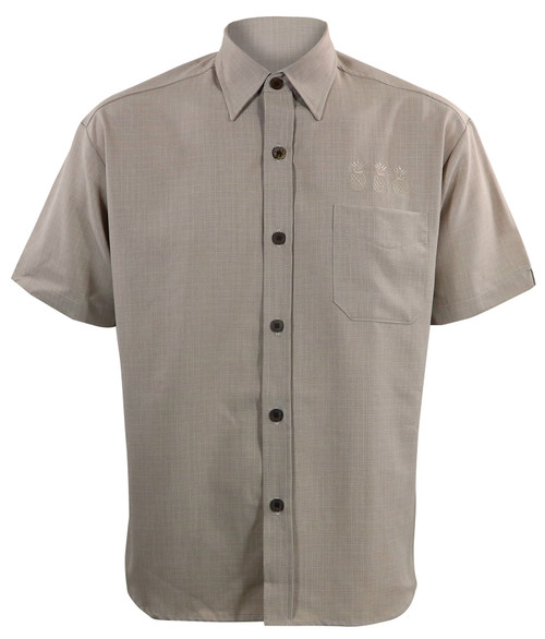 Steady Clothing Pineapple Mixer Button Up Bowling Shirt Stone