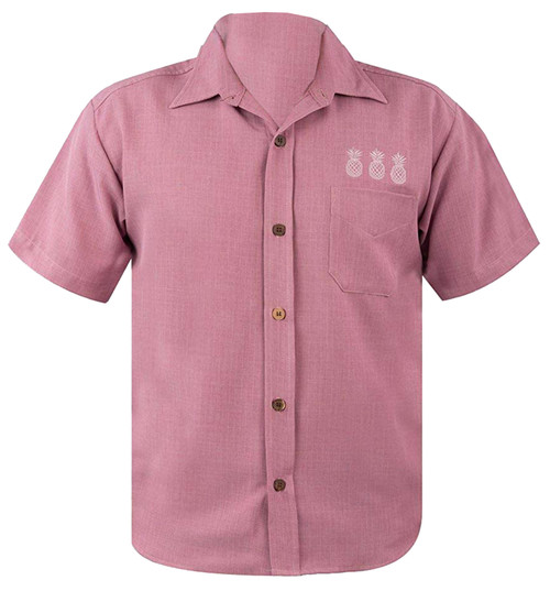 Steady Clothing Pineapple Mixer Button Up Bowling Shirt Rose