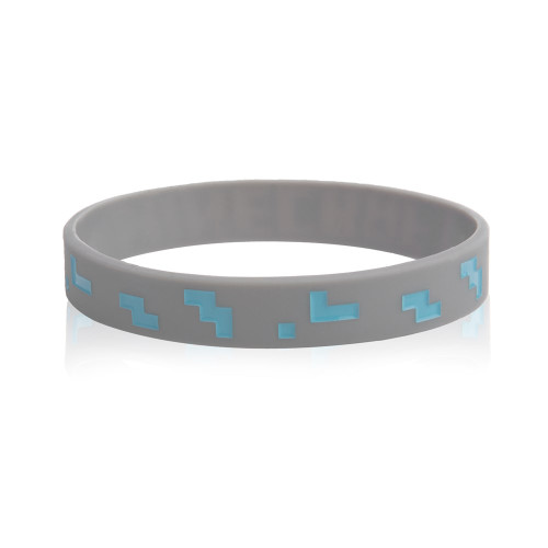 Minecraft Rubber Diamond Bracelet Gray