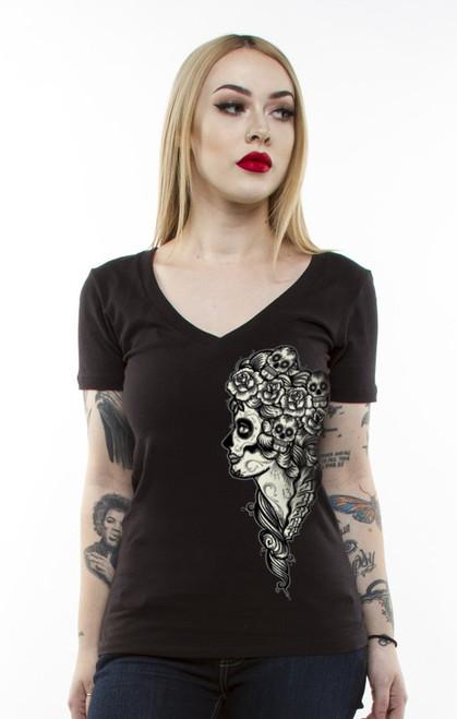 Lucky 13 Lady Death Juniors Deep V-Neck T-Shirt