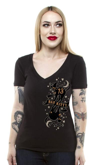 Lucky 13 Bad Kitty Juniors Deep V-Neck T-Shirt