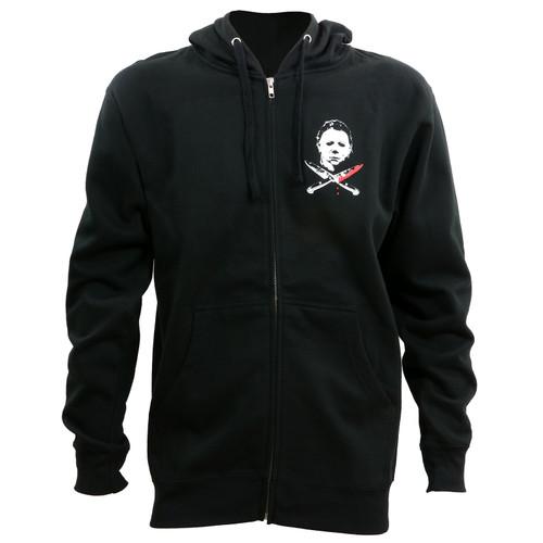 Halloween Michael Myers Crossed Knives Zip Up Hoodie