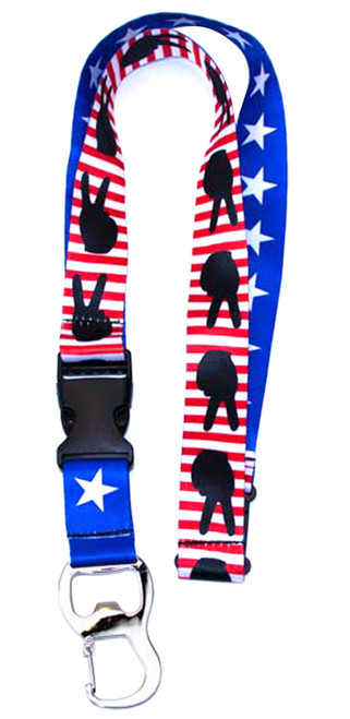 Stars and Stripes Peace Sign Bottle Opener Lanyard