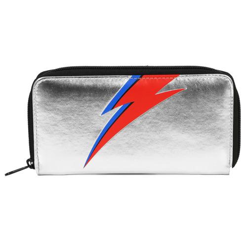 David Bowie Bolt Zip Around Clutch Wallet Metallic Silver