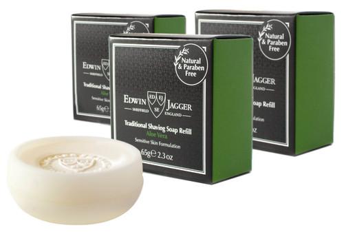 Edwin Jagger Aloe Vera Shave Soap Refill 2.3oz Pack of 3