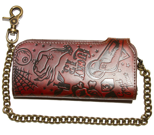 """Lucky 13 High Roller Genuine Embossed Leather 7"""" Chain Wallet Antiqued"""