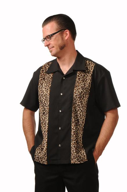 Steady Clothing Leopard Panel Bowling Shirt Black