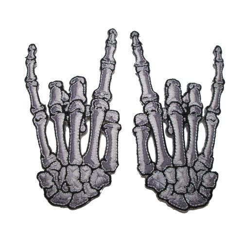 Kreepsville 666 Skelli Hand Devil Bone Embroidered Patch Pair