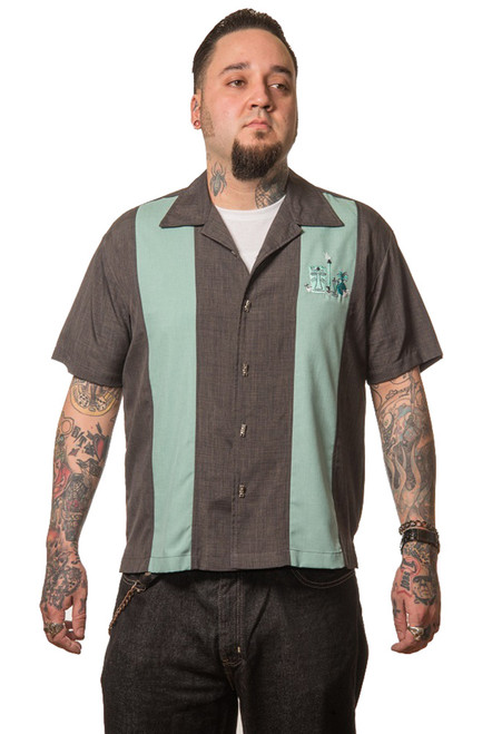 Steady Clothing The Mickey Button Up Bowling Shirt Charcoal