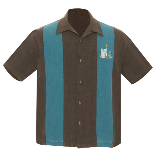 Steady Clothing The Mickey Button Up Bowling Shirt Coffee Teal