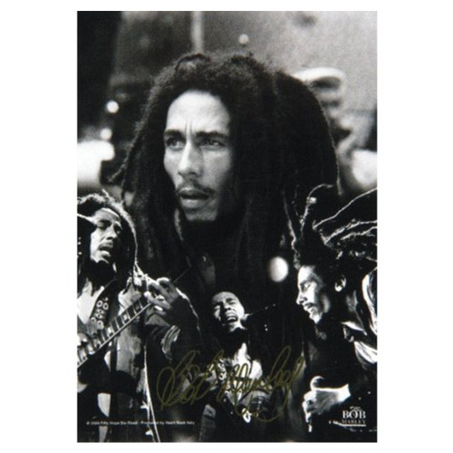 """Bob Marley BW Collage Fabric Poster 30"""" x 40"""""""