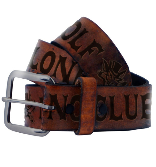 Lucky 13 No Club Leather Belt Antiqued