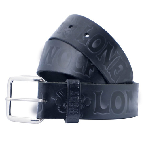 Lucky 13 No Club Leather Belt Black
