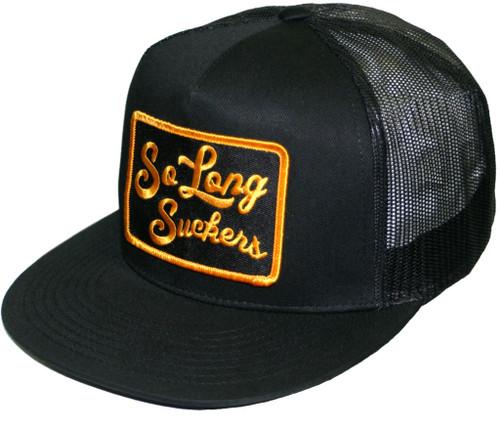 Lucky 13 So Long Suckers Mesh Snapback Trucker Hat Black