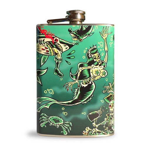 Retro A Go Go Deep Dive Stainless 8 oz. Steel Flask