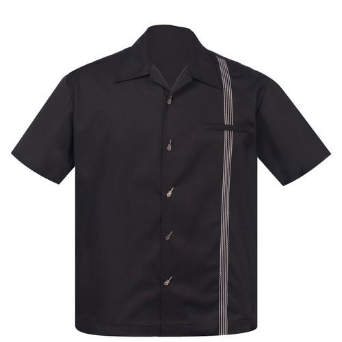 Steady Clothing The Six String Button Up Bowling Shirt Black