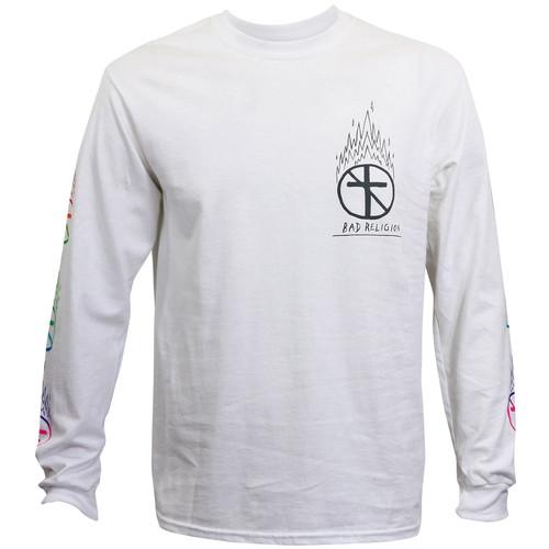 Bad Religion Flaming Crossbuster Long Sleeve T-Shirt White
