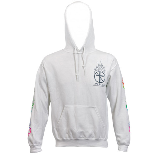 Bad Religion Flaming Crossbuster Pullover Hoodie White