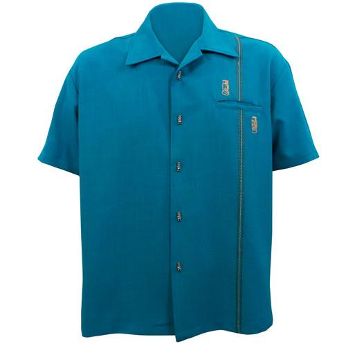 Steady Clothing Tiki Retro Stitch Button Up Bowling Shirt Teal