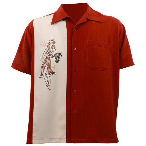 Steady Clothing Mai Tai Mirage Button Up Bowling Shirt Rust