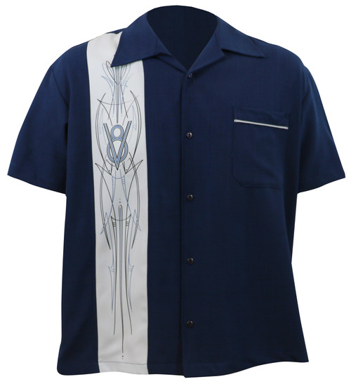 Steady Clothing V-8 Pinstripe Button Up Bowling Shirt Navy