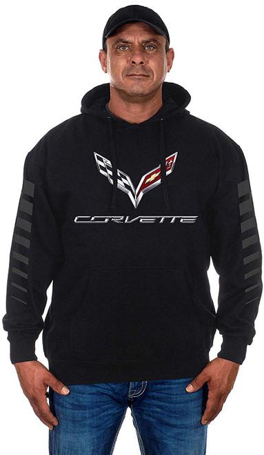 Chevy Corvette C7 Stripes Pullover Hoodie Black