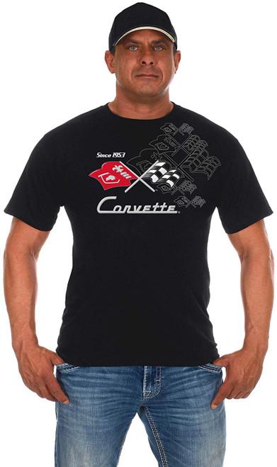 JH Design Chevy Corvette Flags Collage T-Shirt