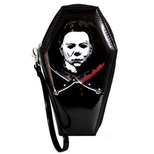 Halloween Michael Myers Glitter Zip Around Coffin Wallet