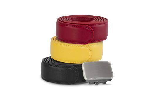 Joseph Elliott Leather Ratchet Belt, College Inspired Colors, 3 Belt Set