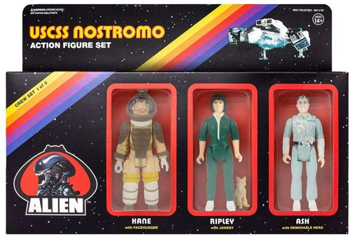 Super7 Alien ReAction Figure Pack A - Ash, Ripley w/Jonesy, Kane w/Facehugger