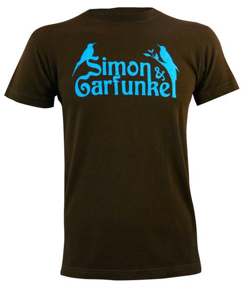 Simon And Garfunkel Men's Birds Slim-Fit Brown T-Shirt