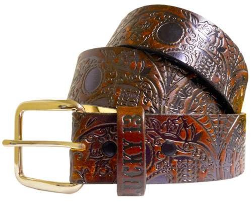 Lucky 13 Dead Skull Embossed Leather Belt Antiqued Brown