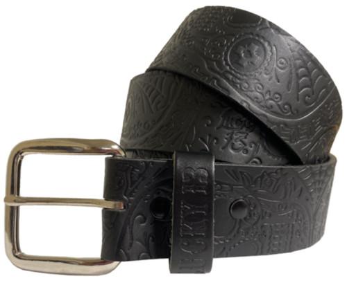 Lucky 13 Dead Skull Embossed Leather Belt Black